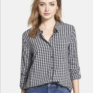 Soft Joie Anabell Black Plaid Oversized Blouse